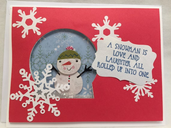 Handmade Greeting Card A Snowman is Love & Laughter