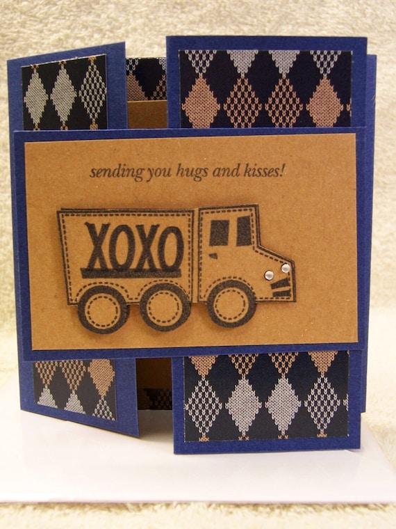 Sending You Hugs & Kisses Handmade Greeting Card