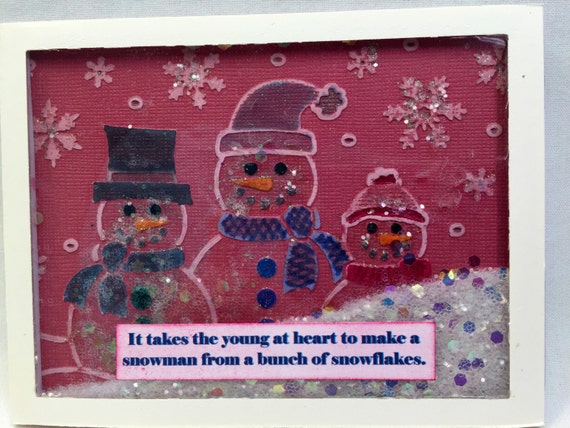 Handmade Greeting Card Young at Heart Snow Flake Friends