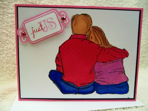 Handmade Greeting Card Just the 2 of US Handcrafted  Greeting Card-For that Special Someone!