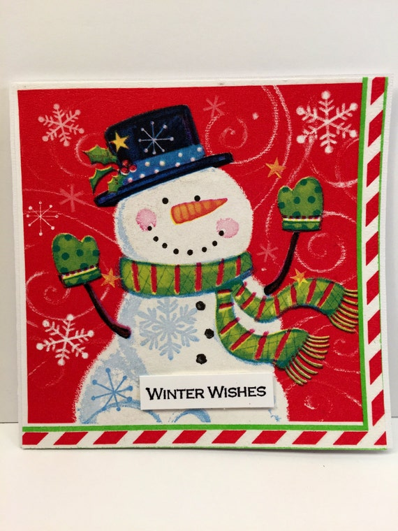 Handmade Greeting Card Snowman Winter Wishes!