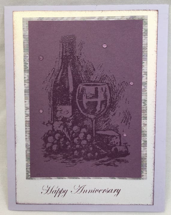 Wine Anniversary Handmade Greeting Card