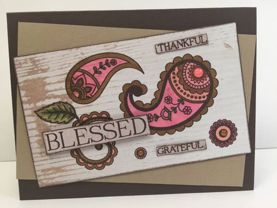 Fall greeting card /Blessed - Thankful- Grateful