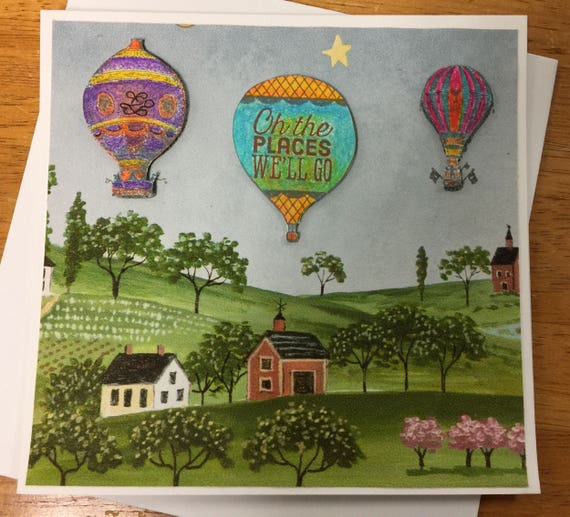Handmade Greeting Card Up up and away in my beautiful balloon, oh, the right places we'll go!
