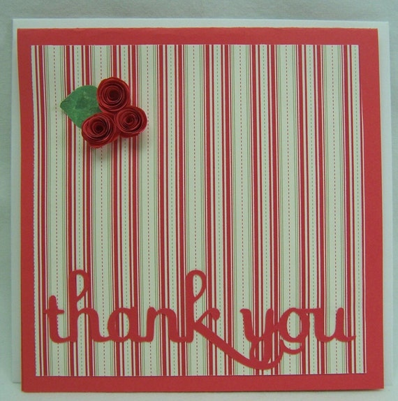 Handmade Greeting Card Quilled Thank You Roses
