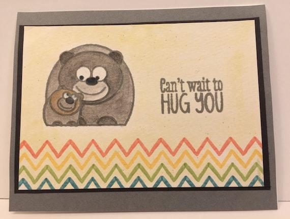 Handmade Greeting Card Bear Hugs!