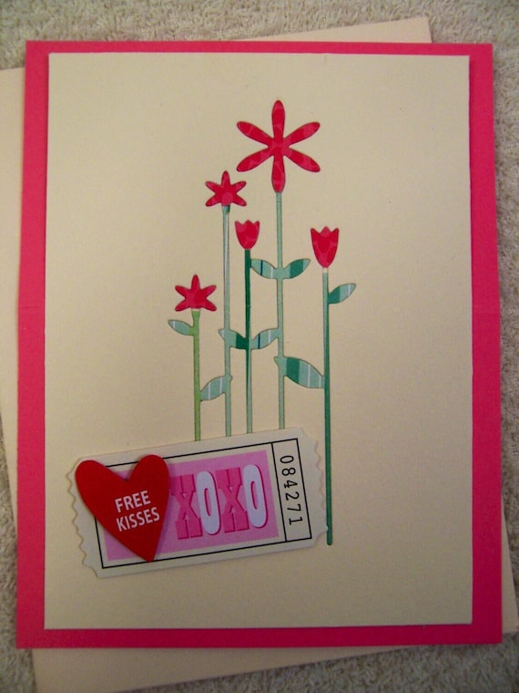 Stand-Up Hugs & kisses Handmade Greeting Card