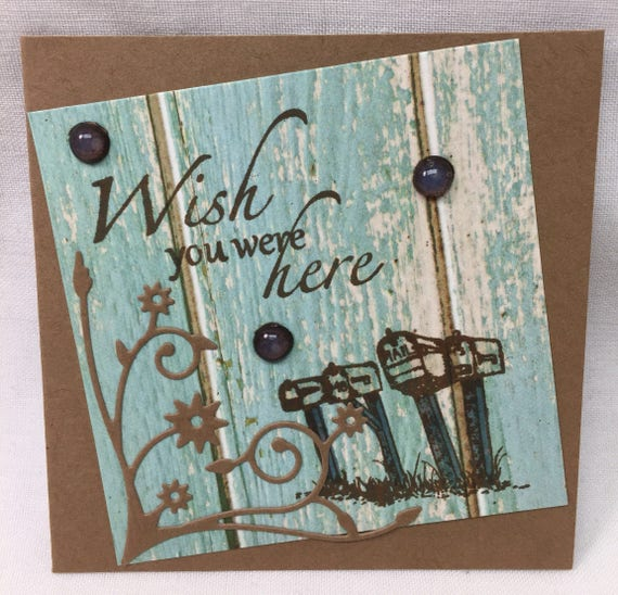 Handmade Greeting Card I miss you - wish you were here!