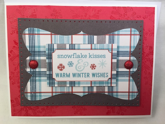 Handmade Greeting Card Snowflake Kisses Warm winter wishes!