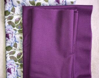 Purple Floral Scrap Fabric