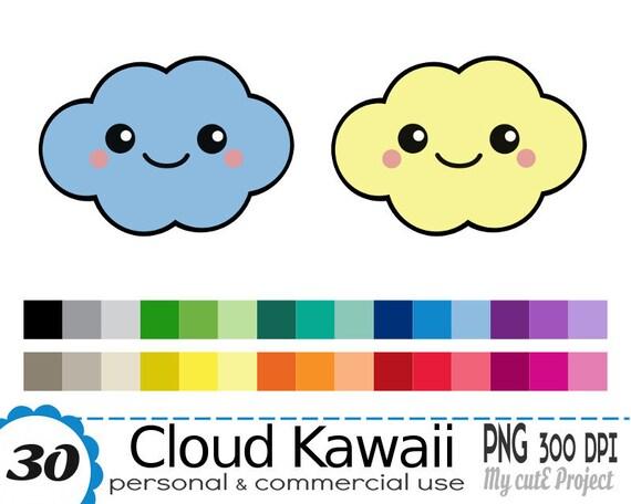 Nuage Kawaii Clipart 30 Couleurs 30 Fichiers Png 300 Etsy