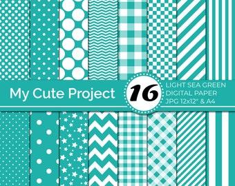 digital Paper light sea green,  Green polka dots, stripes, gingham, stars, checkerboard, chevron, green digital paper N247