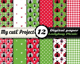 Ladybug Picnic - Instant Download - DIGITAL Paper - 12X12 inches + A4 - gingham polka dots heart