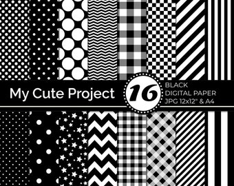 Black Digital Paper   Black Polka dots, Black stripes, Black gingham, Black stars, Black checkerboard, Black chevron N240