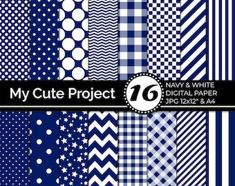 Digital Paper Navy and White, Navy Polka dots, stripes, gingham, stars, checkerboard, chevron N243