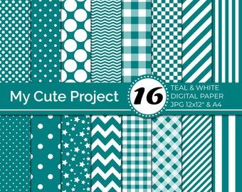 Teal digital Paper,  Teal polka dots, stripes, gingham, stars, checkerboard, chevron, blue green digital paper N246