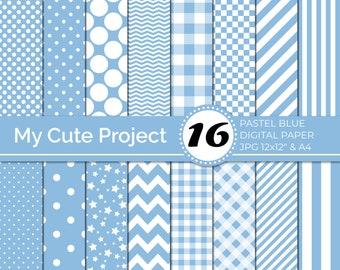 Pastel blue digital Paper,  Pastel blue polka dots, stripes, gingham, stars, checkerboard, chevron N245