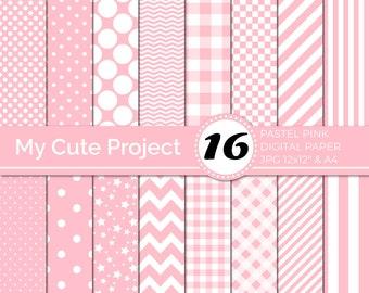 Digital Paper pastel pink, Pink polka dots, stripes, gingham, stars, checkerboard, chevron, Pastel color digital paper N250