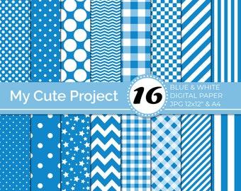Digital Paper Blue and White, Navy Polka dots, stripes, gingham, stars, checkerboard, chevron N244