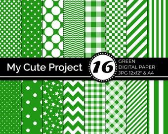 Green Digital Paper   Green Polka dots, stripes, gingham,  stars, checkerboard, chevron N241