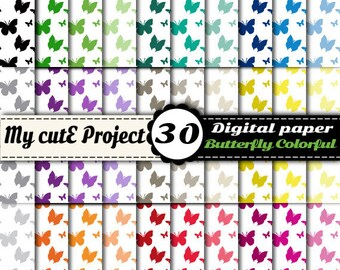 Butterfly - DIGITAL PAPER - Instant Download - pink, red, purple, orange, blue, brown, black, white, green - 30 sheets