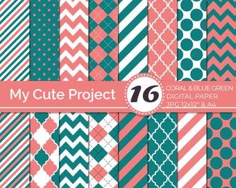 Digital paper Coral and Blue Green - Quaterfoil, diamonds, chevron,  argyle, Oblique stripes, polka dots Digital paper quatrefoil    N233