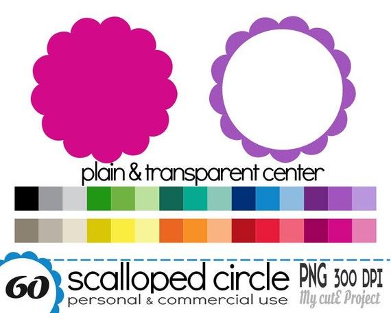 Círculo Festoneado Clip Art 30 Colores 60 Archivos PNG