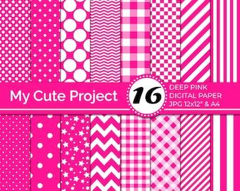 Pink Digital Paper, Deep Pink polka dots, stripes, gingham, stars, checkerboard, chevron, Bright color digital paper N249