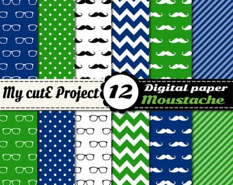 Moustache and Glasses - Digital paper pack - Blue and Green  - Scrapbooking & graphic design - 12x12 - A4 - Polka dots, stripes, chevron