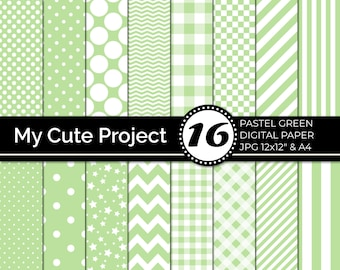 Pastel Green Digital Paper, Green Polka dots, stripes, gingham,  stars, checkerboard, chevron, Pastel Digital Paper   N242