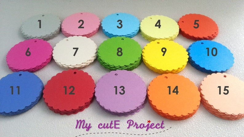 Scalloped circles Party decoration Color of your choice Tags Party favor 50 Gift tags