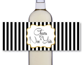 striped printable new years bottle labels digital wine bottle label cheers to a new year black white gold teacher appreciation