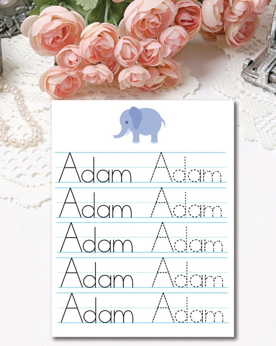 Kids Personalized Name Tracing Worksheets Boys Custom | Etsy