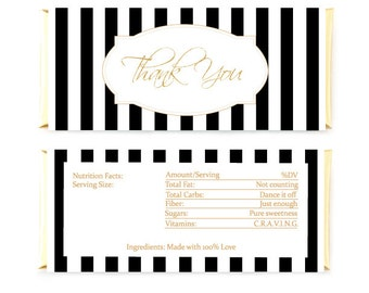 Striped Candy Bar Wrapper Gold Glitter Thank You Chocolate Bar Wrapper Digital
