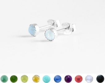 Small Stone Earring Studs with Serrated Bezel in Sterling Silver