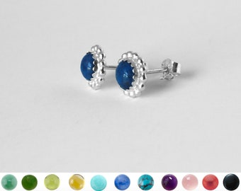 6mm Beaded Earring Studs With Serrated Bezel in Sterling Silver