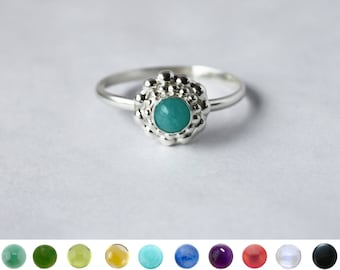 Beaded Flower with Gem Ring in Sterling Silver