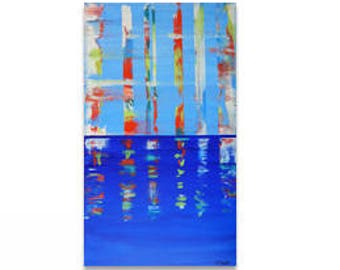 Gerhard Takes Manhattan; Original Acrylic Painting, Richter inspired abstract cityscape painting; Modernist cityscape painting