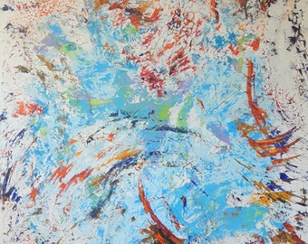 Cosmic Cloud. Very large abstract painting. Cracked. Crackled. Large original abstract painting. Large loft contemporary abstract painting.