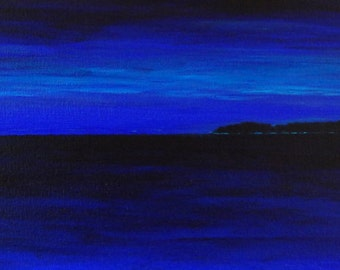 Twilight, Catalina off the Starboard Bow.  Original acrylic painting.  Abstract impressionist seascape.  10 in by 36 in by 1.5 in.