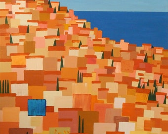 Taormina. Original acrylic painting on canvas. 48in x 36in x 1.5in