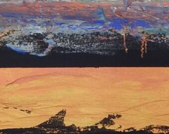 """Spirit of the Mountains.  Six foot long original painting by Brenda Helt.  13"""" x 72"""". Acrylic on gallery wrapped canvas."""