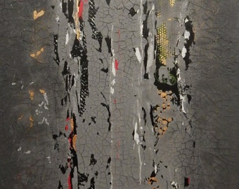 Urban Nights, Original Acrylic Painting on gallery-wrapped canvas.  Abstract Cityscape.  Cracked cement.  Cracked grey concrete.  Crackled.