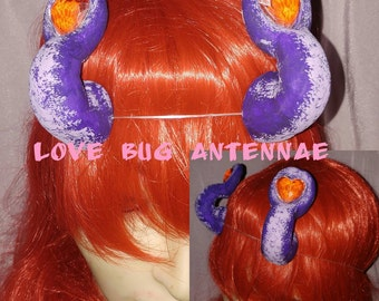 Purple with red gem love bug alien antennae horns ooak lightweight handmade