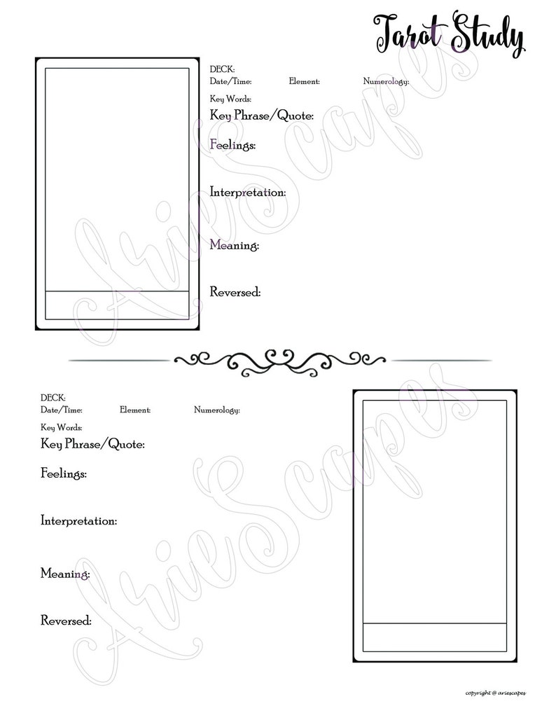 image regarding Free Printable Tarot Journal called Tarot Analysis Template - PDF merely - Solitary Web page