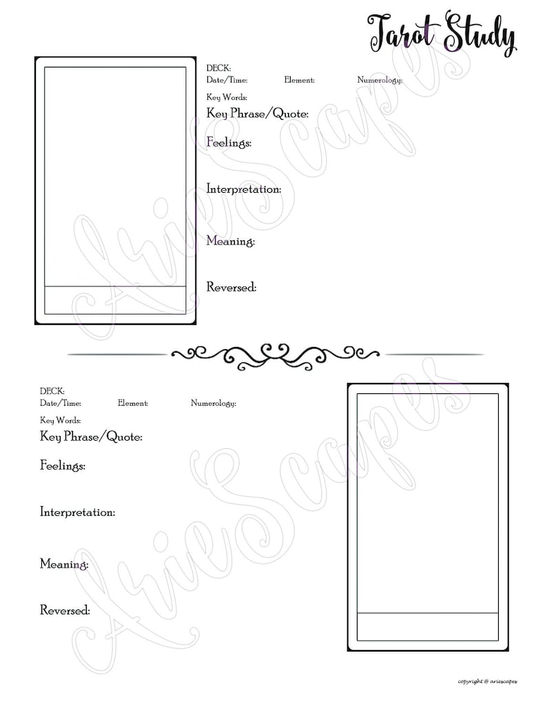 Tarot Study Template - PDF only - SINGLE PAGE