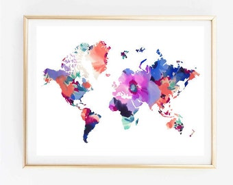 Tumblr travel quote etsy map art floral world map painting map art print tumblr art typographic print decor quote travel poster tumblr room decor 8x10 gumiabroncs Images