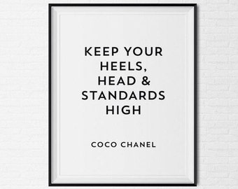 Coco Chanel Frame Quote Tumblr Pintrest Typographic Print Girly Art Wall Decor Makeup Room