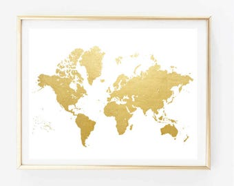 Faux Gold World Map Painting Art Print Room Decor Typographic Drawing Wall Framed Quotes Travel Poster Tumblr 8x10