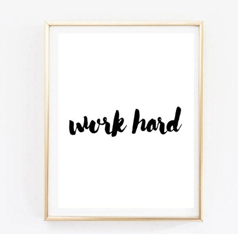 Work Hard Handwritten Inspirational Tumblr Quote Typographic Etsy